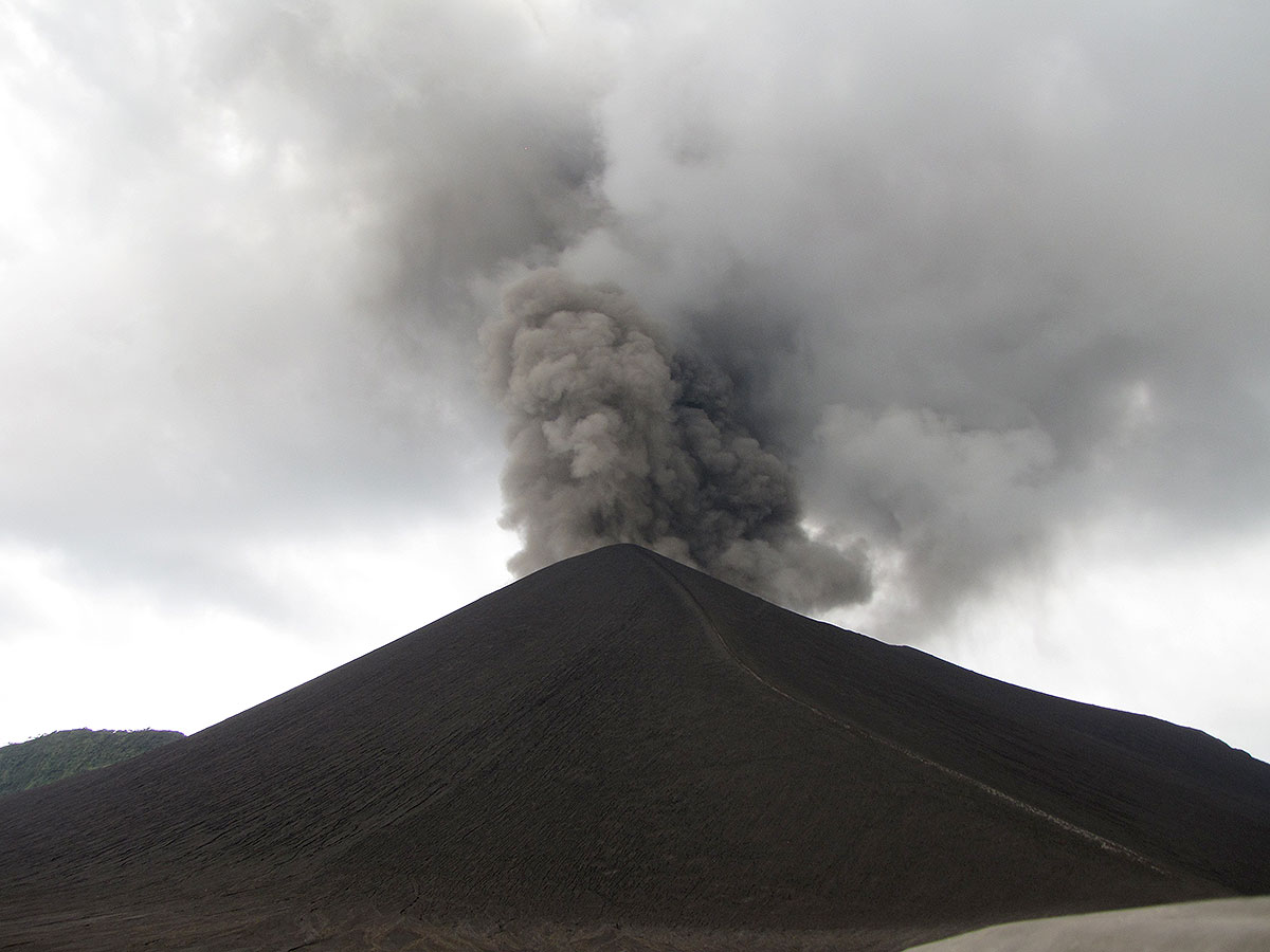 A safe distance from a volcano